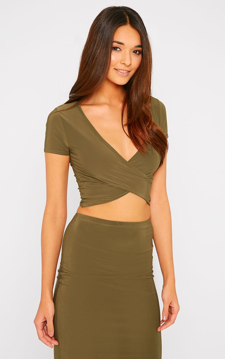 Arabella Khaki Slinky Cross Over Crop Top 4