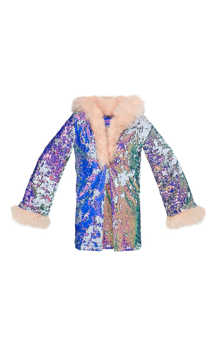Pink Faux Fur Hooded Sequin Jacket  4