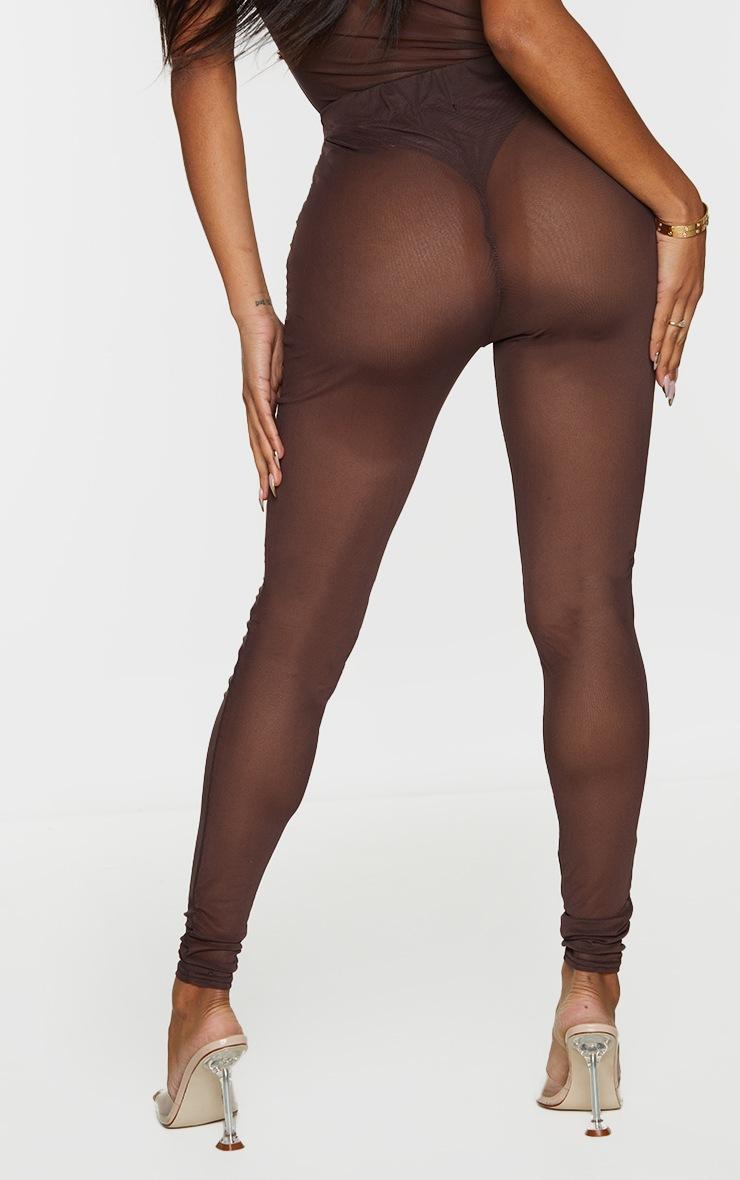 Shape Chocolate Brown Tie Dye Mesh Panel Detail Leggings 3
