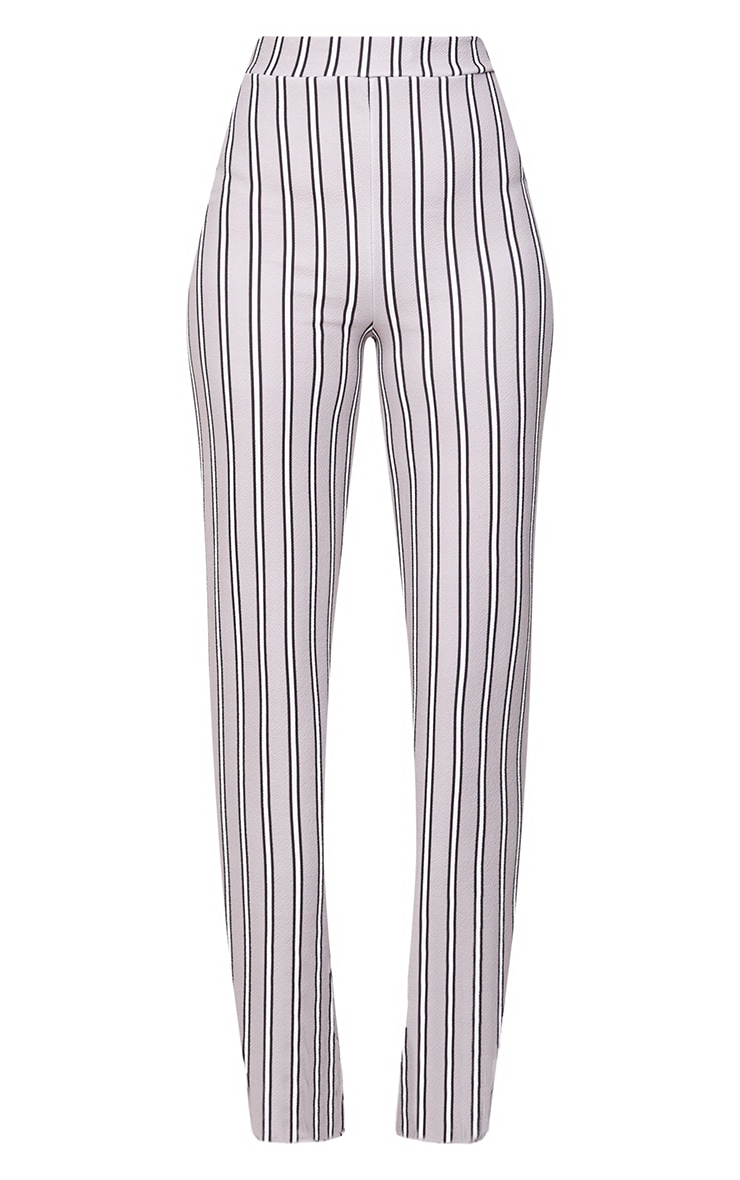 Grey Stripe Straight Leg Suit Trousers 3