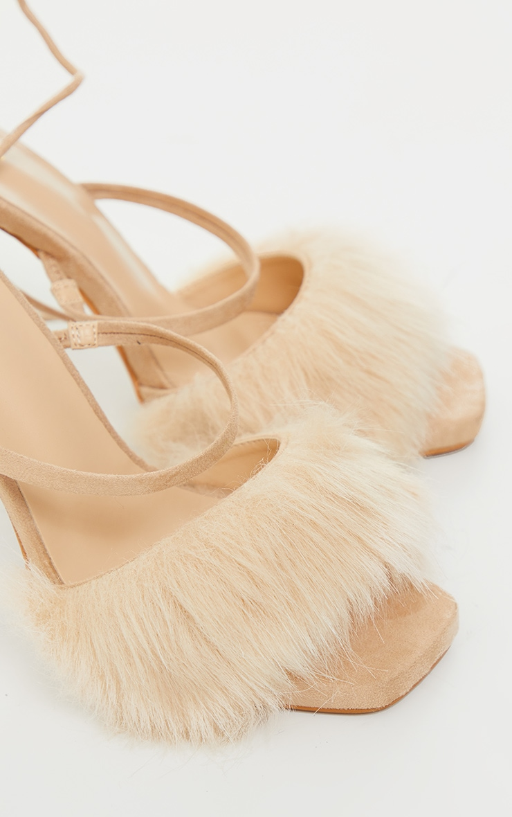 Nude Faux Fur Lace Up High Heels 3