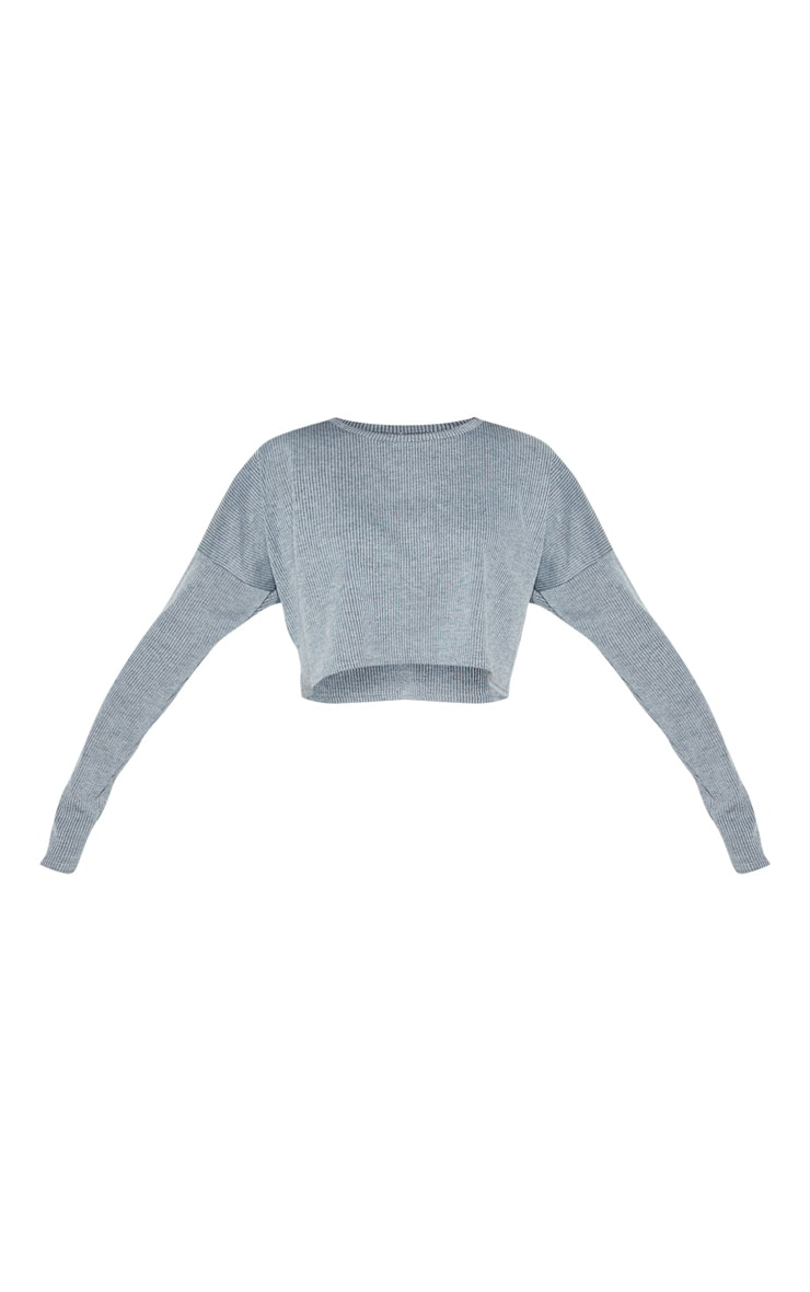 Grey Stripe Long Sleeve Cropped Lounge Top 3