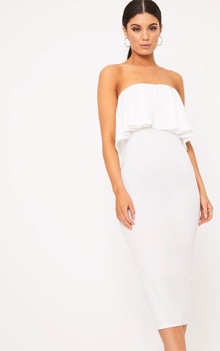 White Frill Bandeau Midi Dress 1