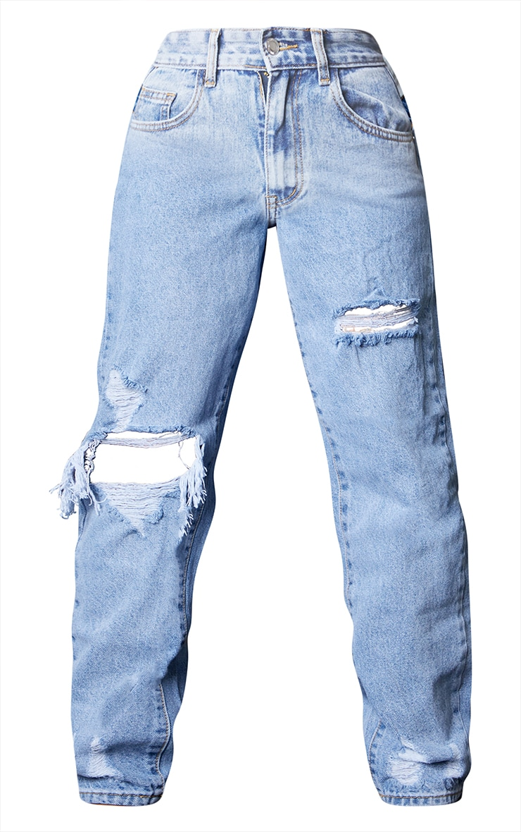 PRETTYLITTLETHING Light Blue Wash Open Knee Ripped Hem Mom Jeans 5