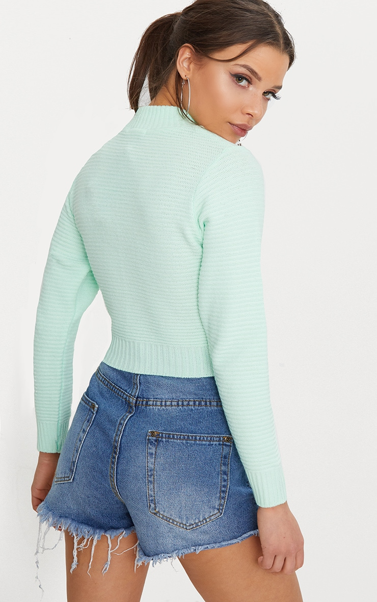 Mint Ribbed Cropped Knitted Jumper 2