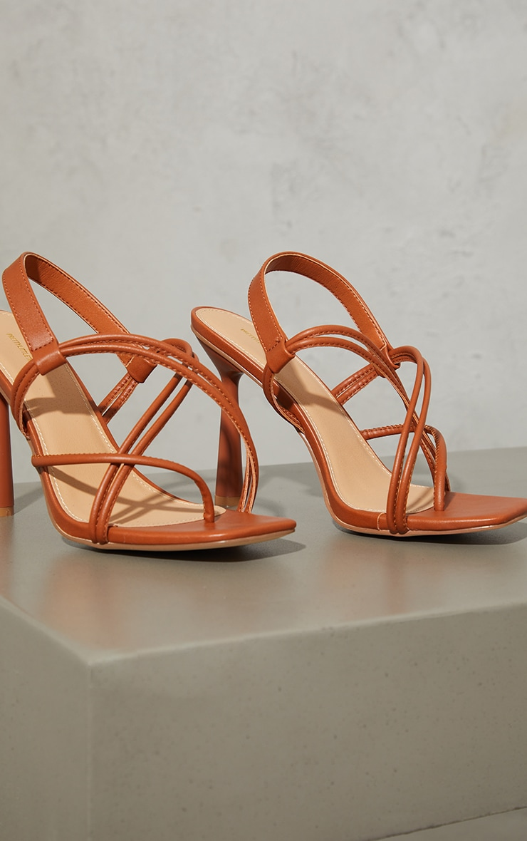 Tan PU Knot Toe Loop Slingback High Flare Heel Sandals 3