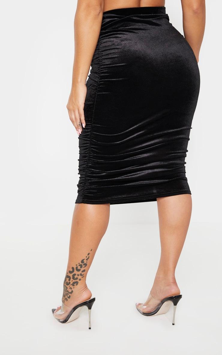 Shape Black Velvet Ruched Side Bodycon Skirt 3