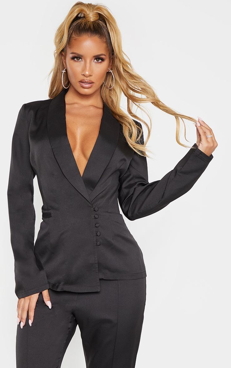 Black Woven Collar Button Detail Blazer  1
