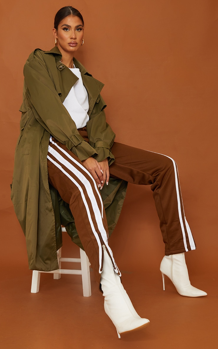 Tall Khaki Oversized Belted Midi Trench 3