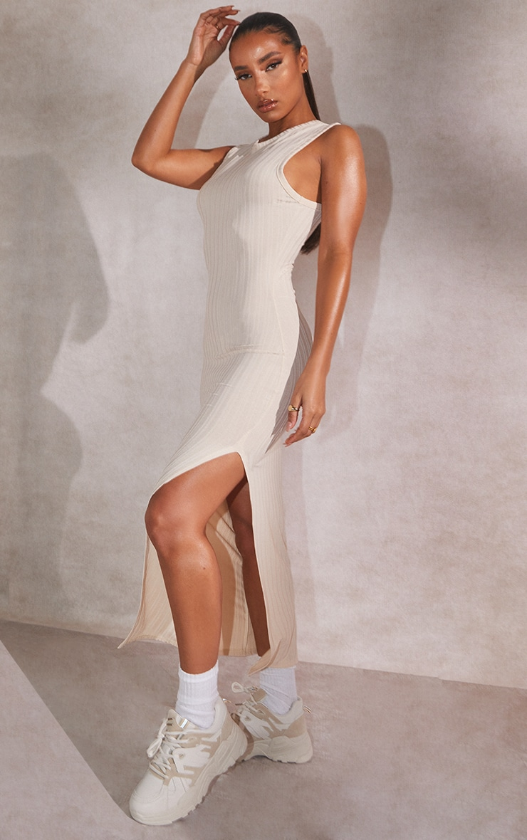 Recycled Beige Rib Split High Neck Midi Dress 1