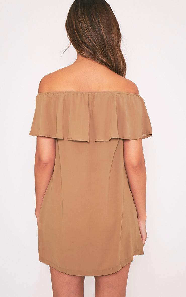 Poppy Camel Bardot Chiffon Mini Dress 3