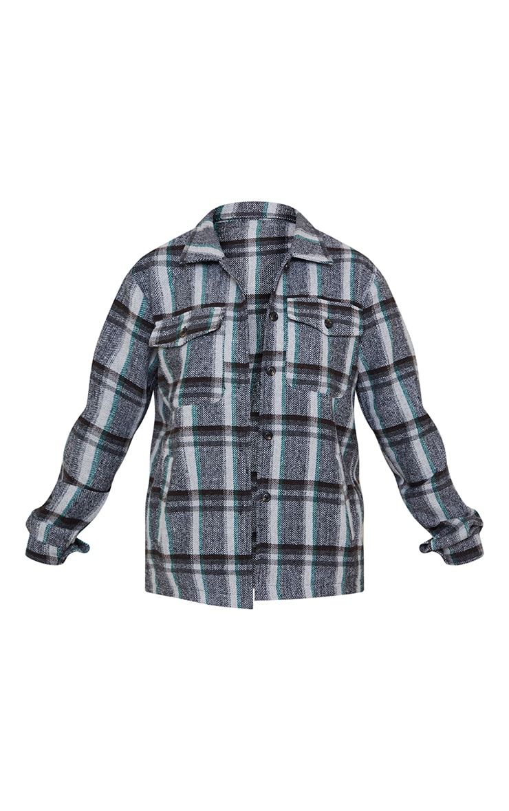 Petite Grey Tooth Checked Shacket 5