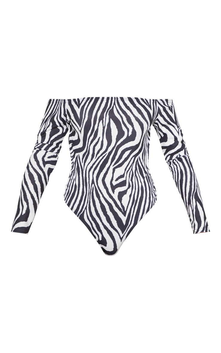 Mono Zebra Printed Bardot Long Sleeve Bodysuit 3