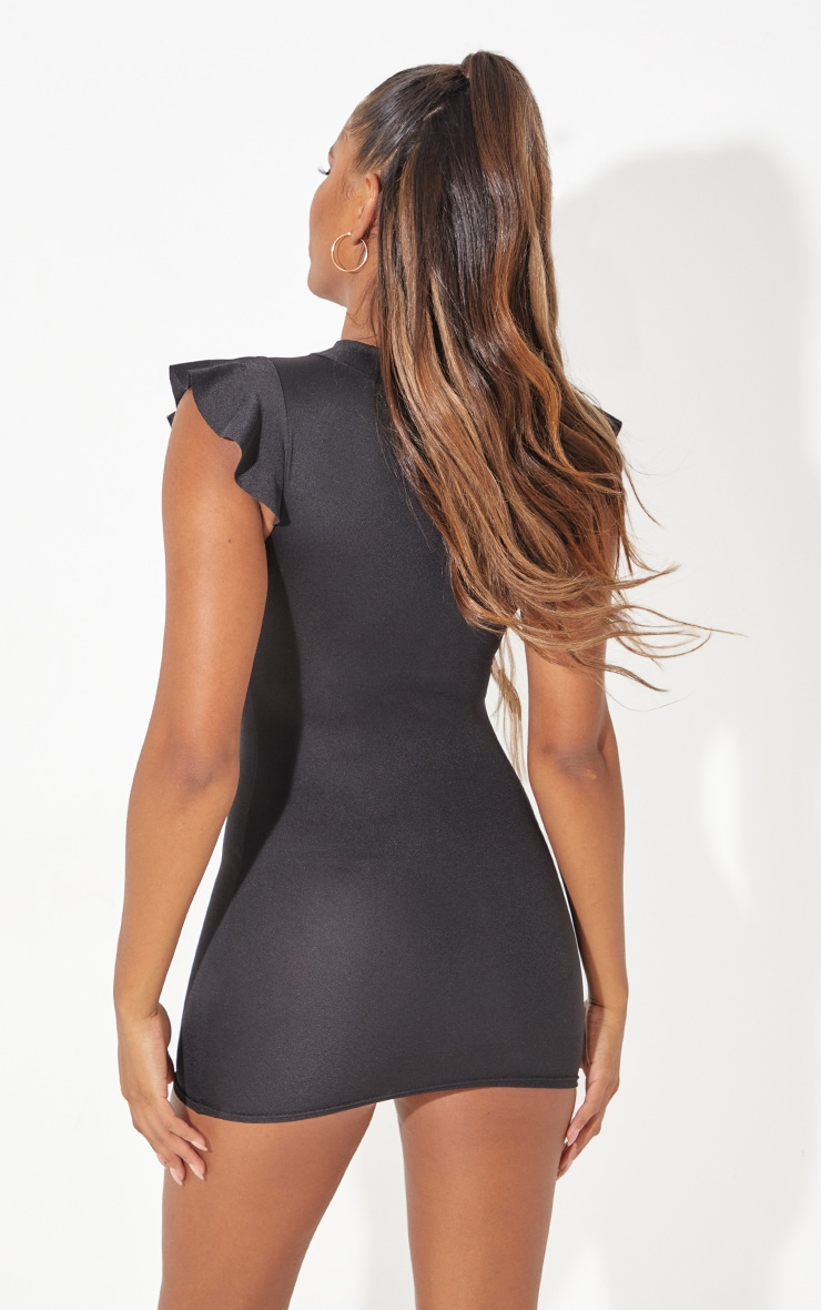 Black High Neck Cap Sleeve Bodycon Dress 3