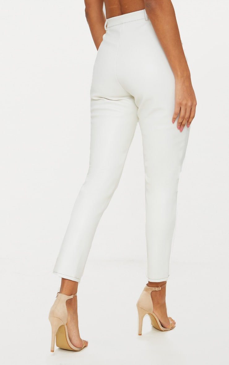 White Faux Leather Contrast Stitch Trouser 4