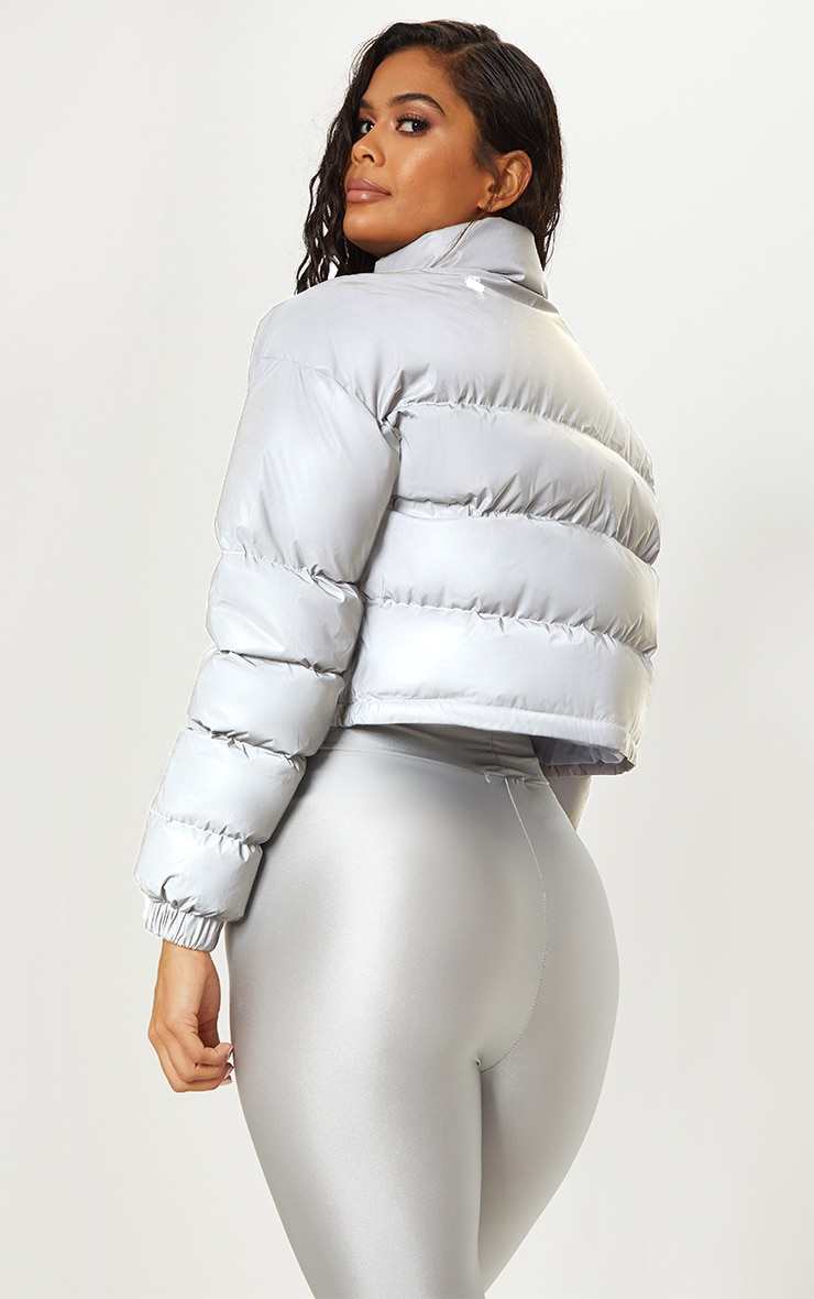 Grey Reflective Puffer Jacket  2