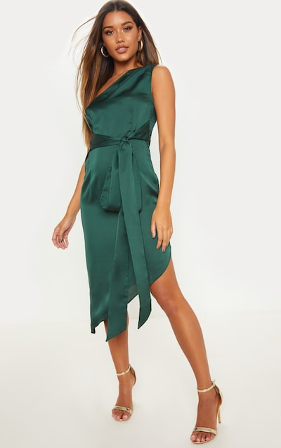 366fb25847e Emerald Green Satin One Shoulder Tie Waist Asymmetric Hem Midi Dress
