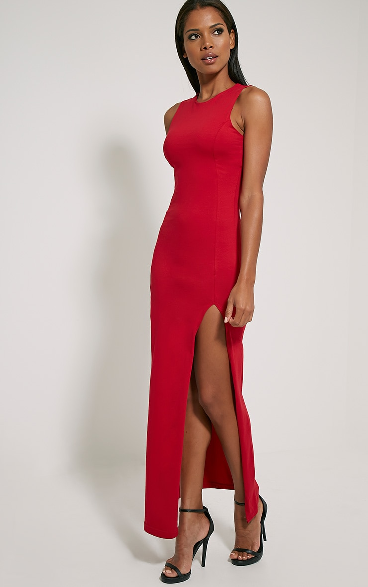 Karina Red Front Split Dress 1