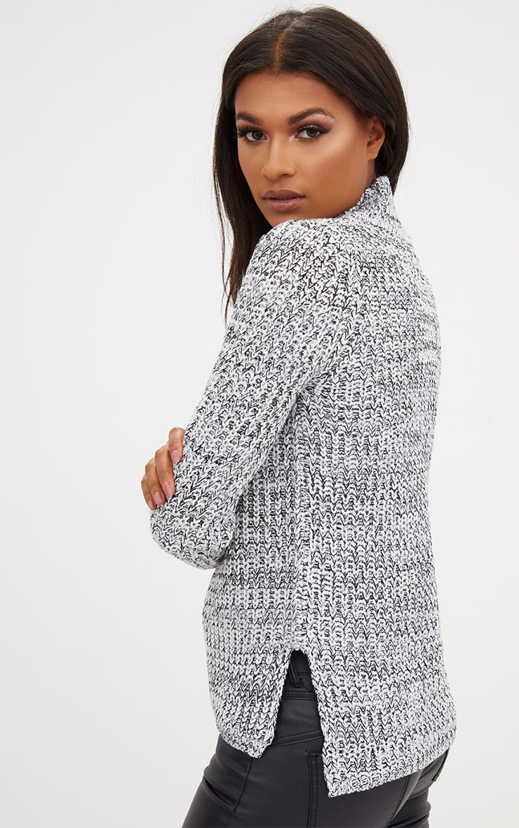 Grey Roll Neck Step Hem Jumper 2
