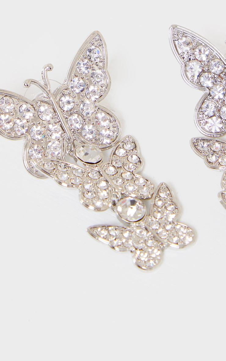 Silver Diamante Drop Butterfly Earrings 2