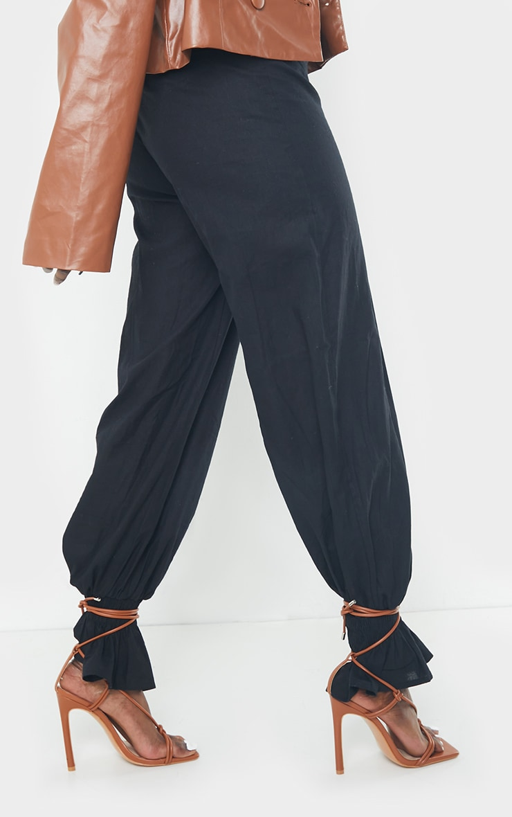 Black Woven Button Shirred Hem Trousers 3