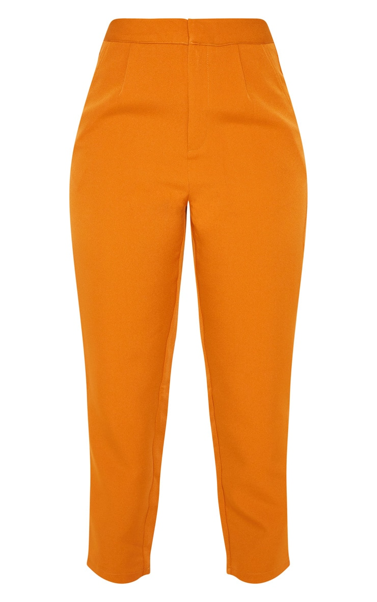 Pantalon de tailleur moutarde court 3