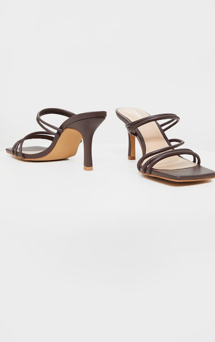 Chocolate PU Square Toe Strappy Low Heeled Mules 4