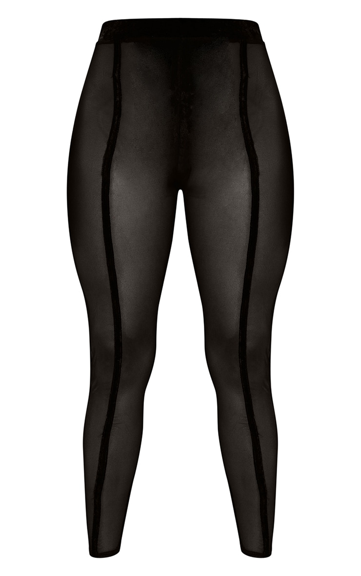 Black High Waisted Velvet Stripe Mesh Leggings 6