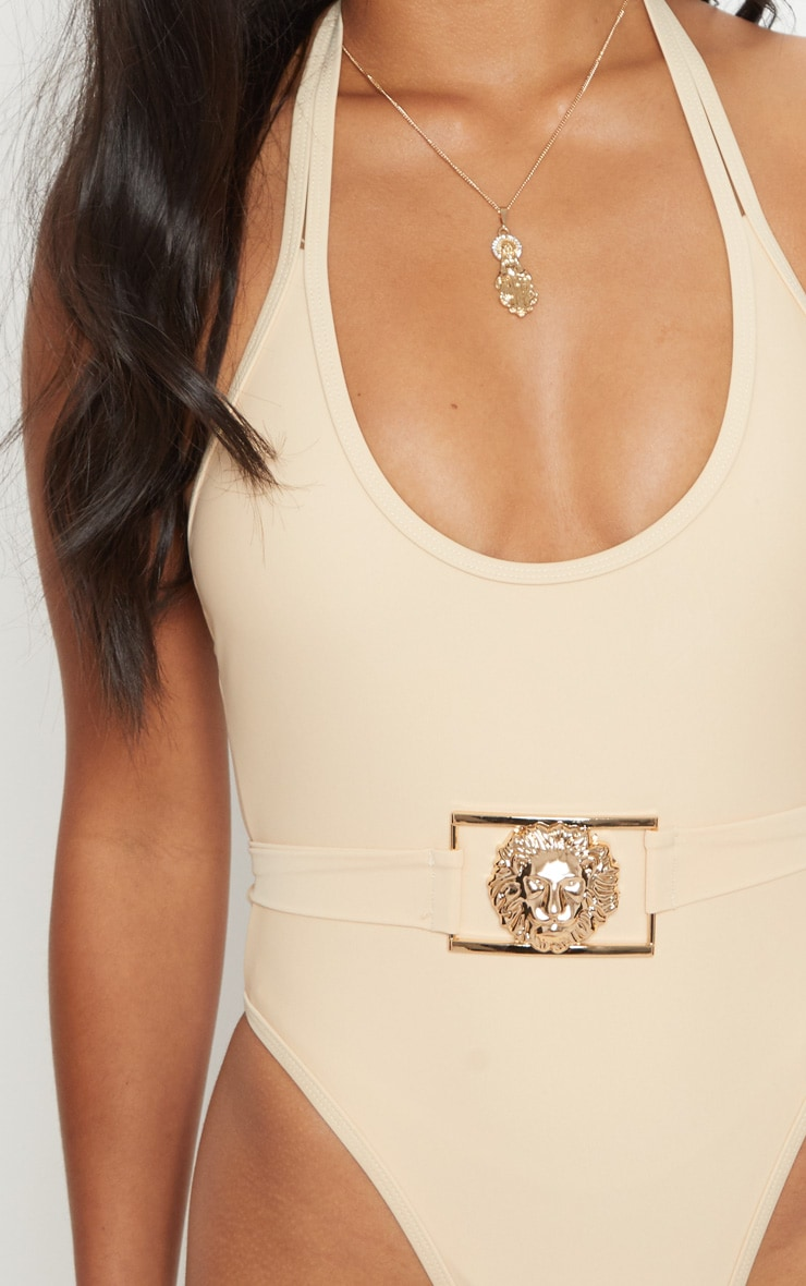 Petite Nude Lion Belted Swimsuit 6
