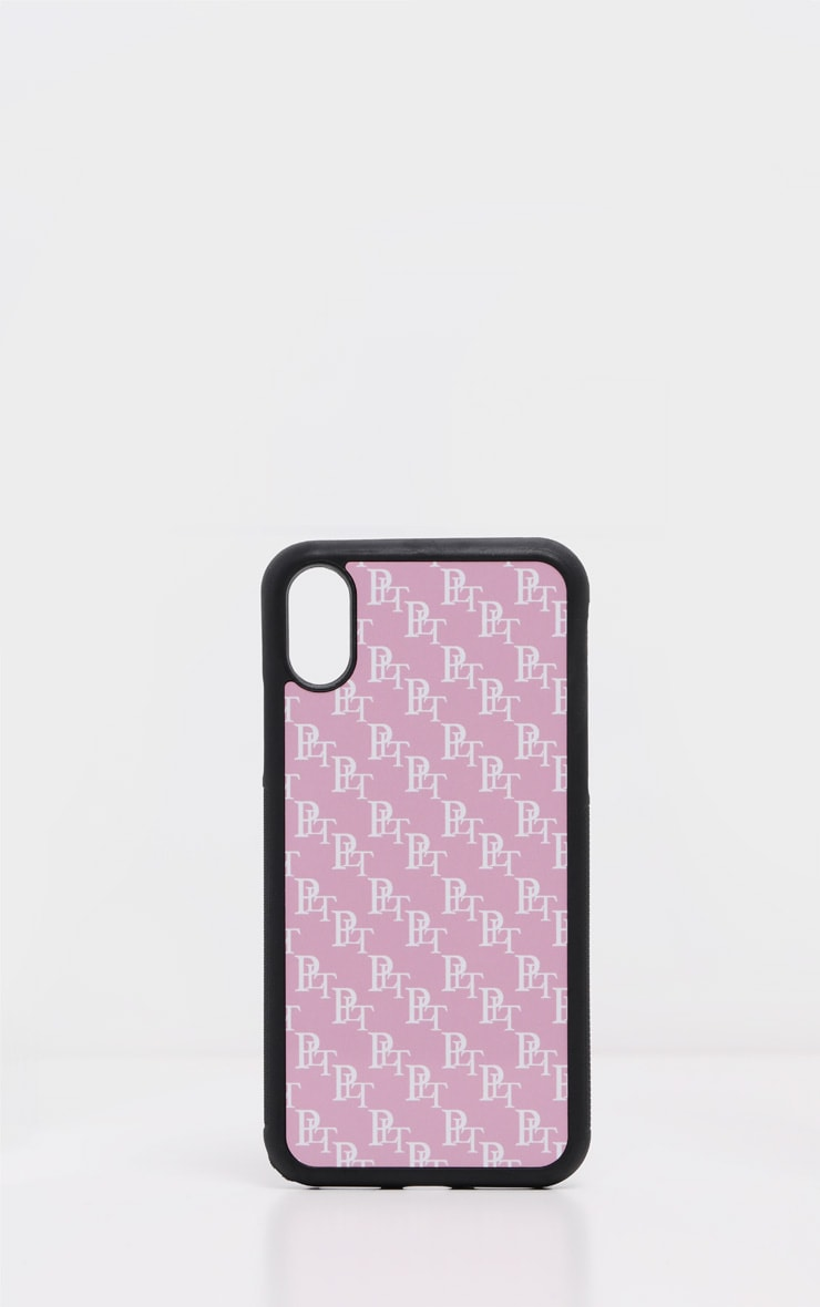 PRETTYLITTLETHING Baby Pink Monogram 10/X/XS iPhone Case  2