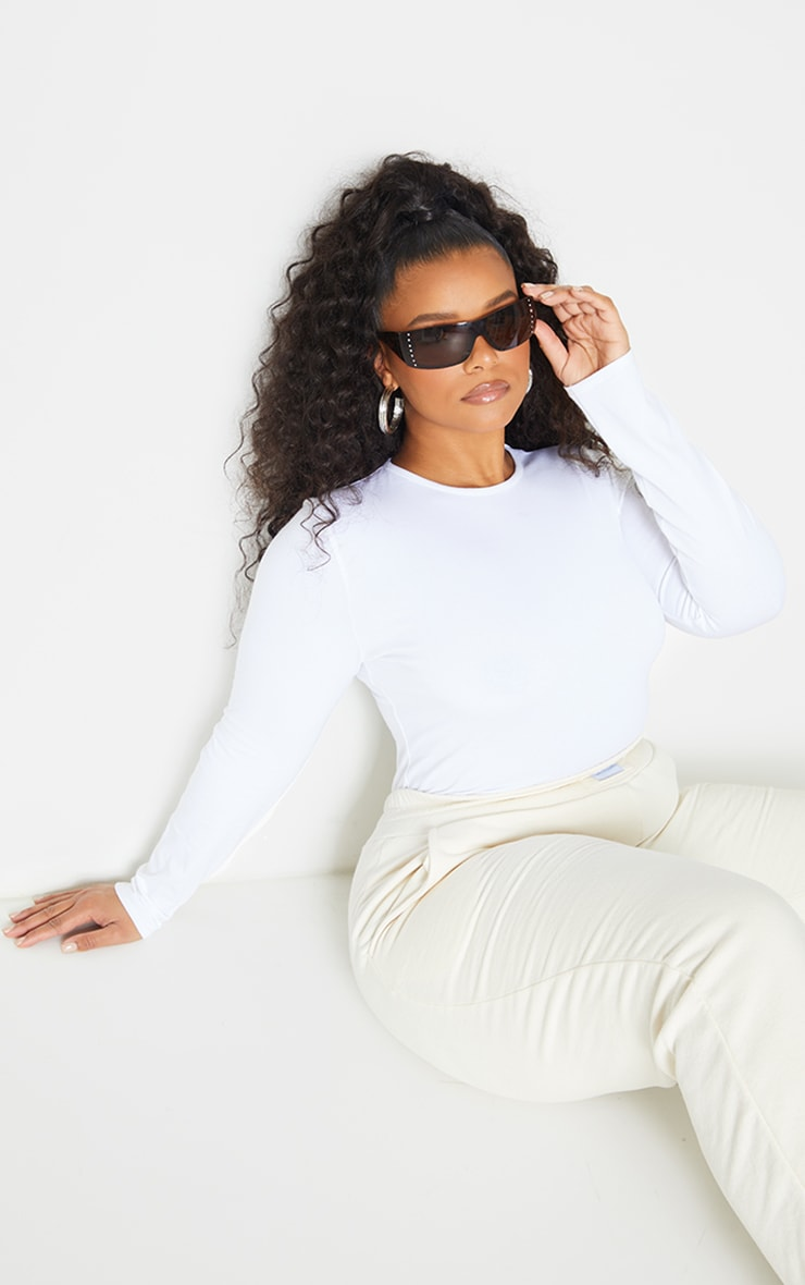 Plus Basic White Cotton Blend Fitted Long Sleeve T Shirt