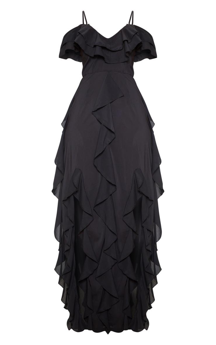 Black Cold Shoulder Ruffle Detail Maxi Dress 3