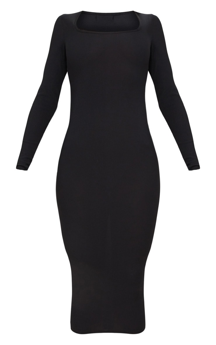 Black Ribbed Long Sleeve Midaxi Dress 3