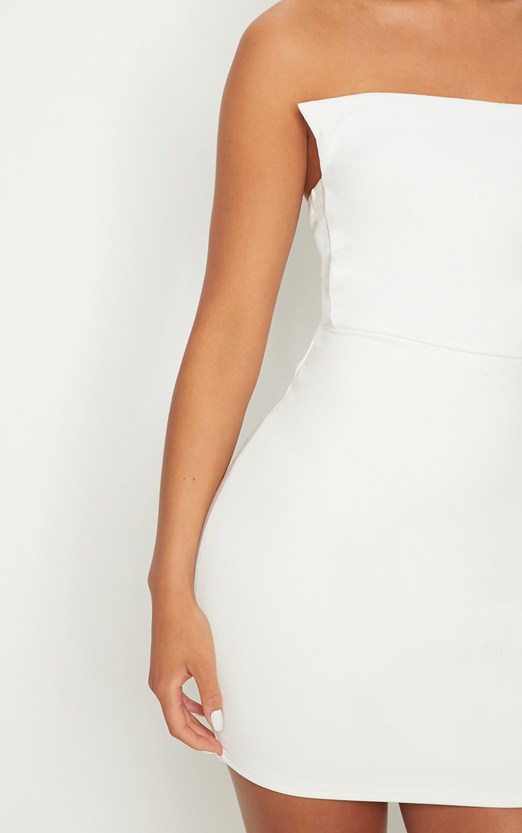 White Square Neckline Bandeau Bodycon Dress 4