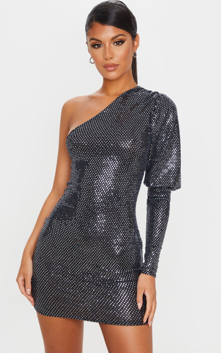 Silver Sequin Glitter One Shoulder Bodycon Dress 1