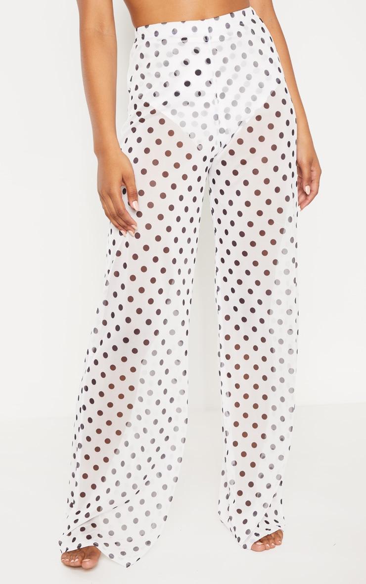 Tall White Polka Dot Sheer Wide Leg Beach Trouser 2