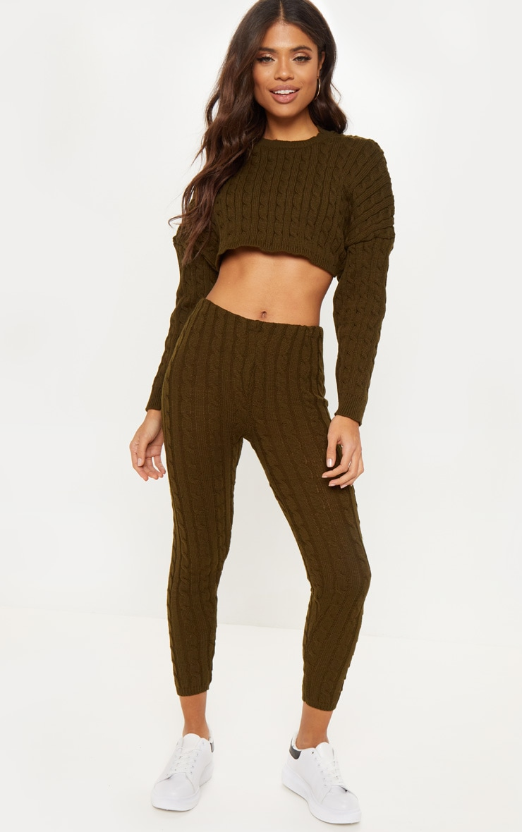 Khaki Cable Knit Crop Jumper & Legging Set