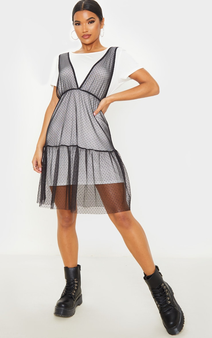 Black Dobby Mesh Midi Overlay T Shirt Dress  1