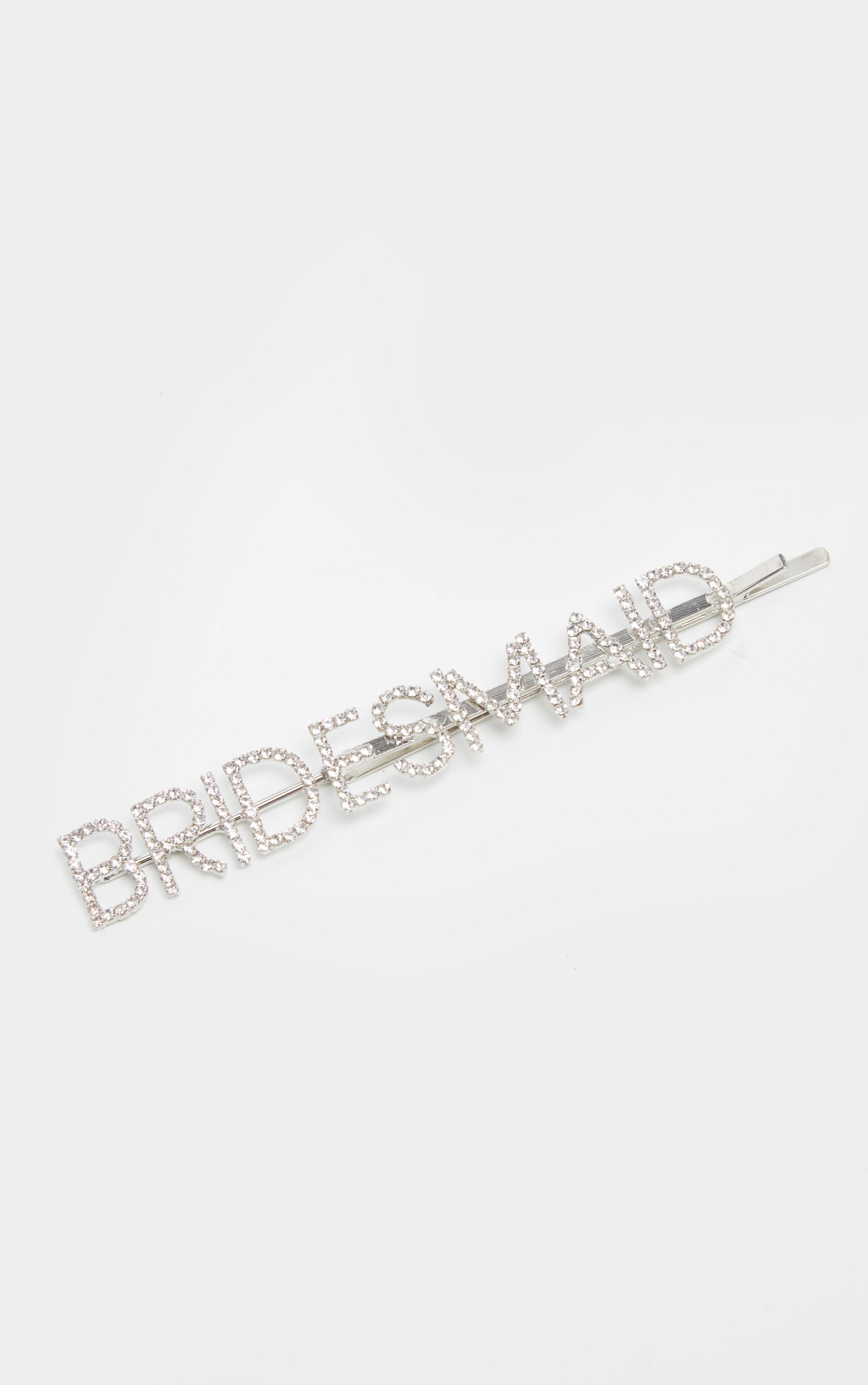 Silver Diamante Bridesmaid Slogan Hair Slide 2