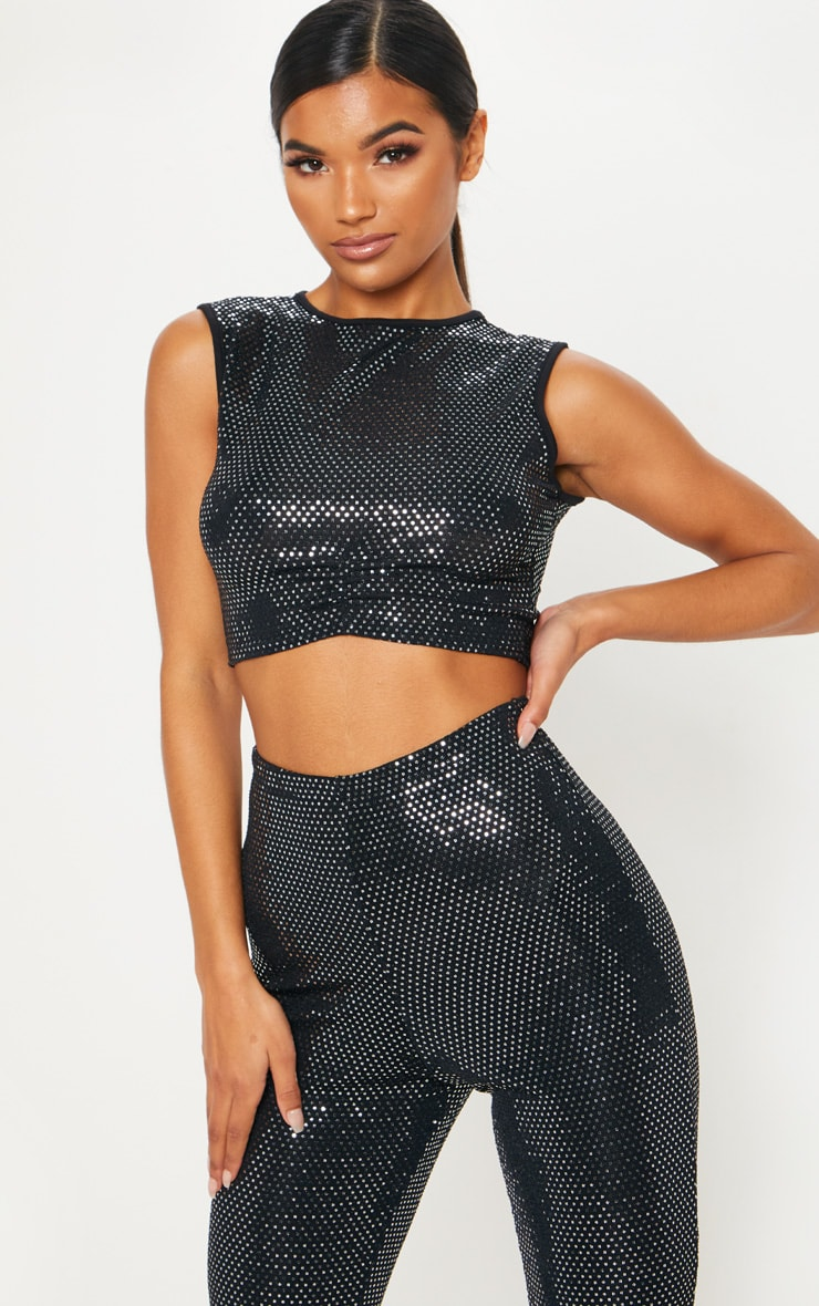 Black Glitter Sequin High Neck Crop Top