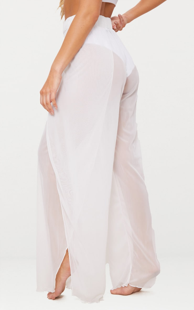White Mesh Split Beach Trouser 4