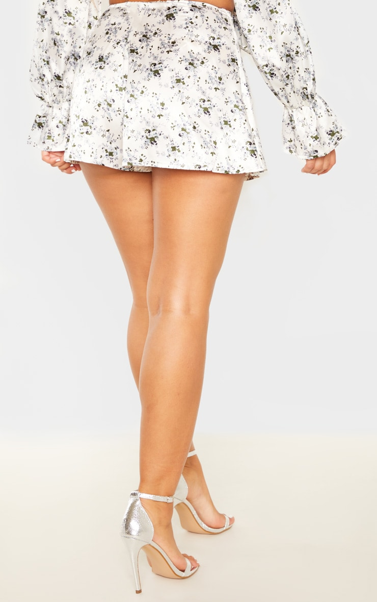 White Ditsy Floral Print Floaty Shorts 4