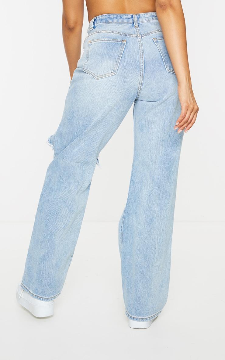 Vintage Wash Open Knee Distressed Boyfriend Jeans 3