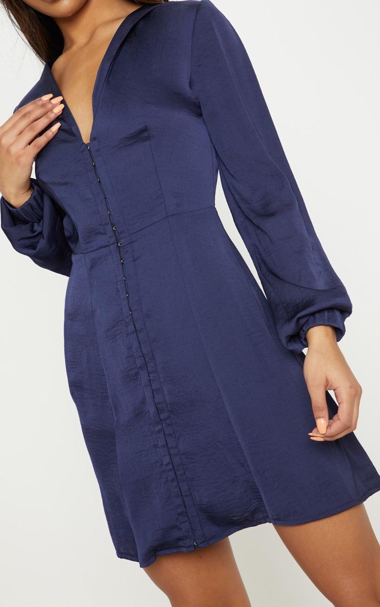 Navy Satin Hook & Eye Shift Dress 5