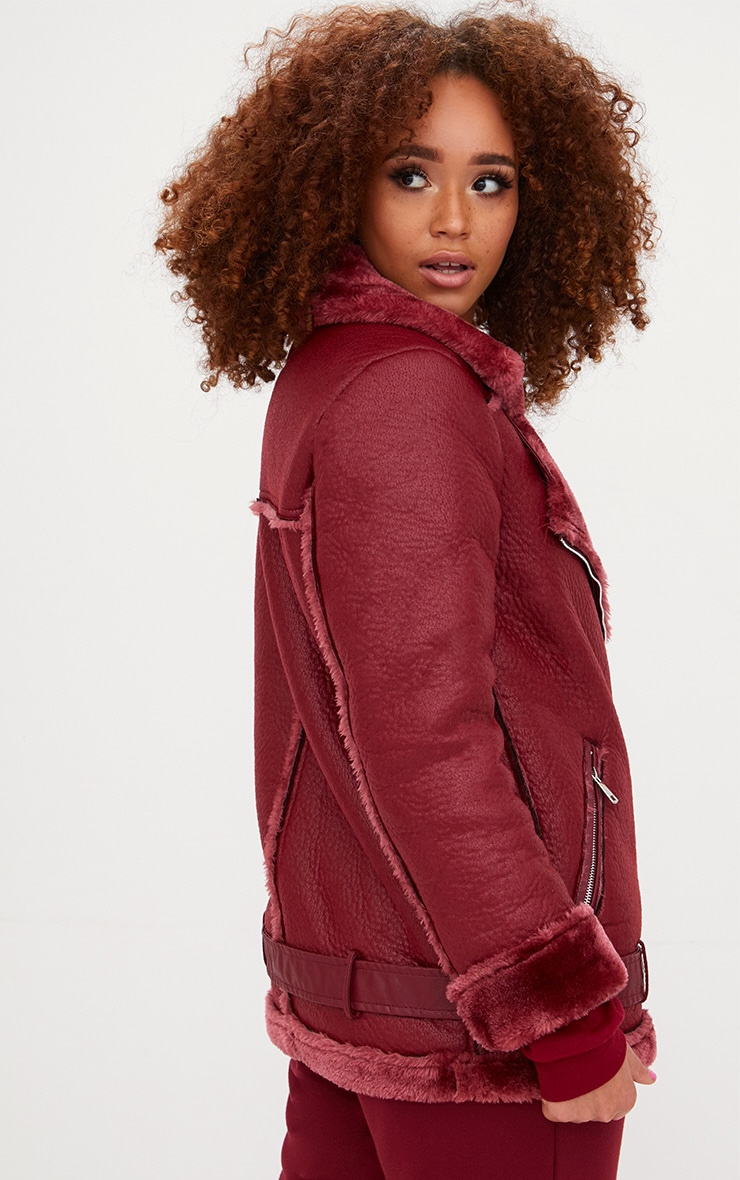 Burgundy PU Aviator Jacket 2