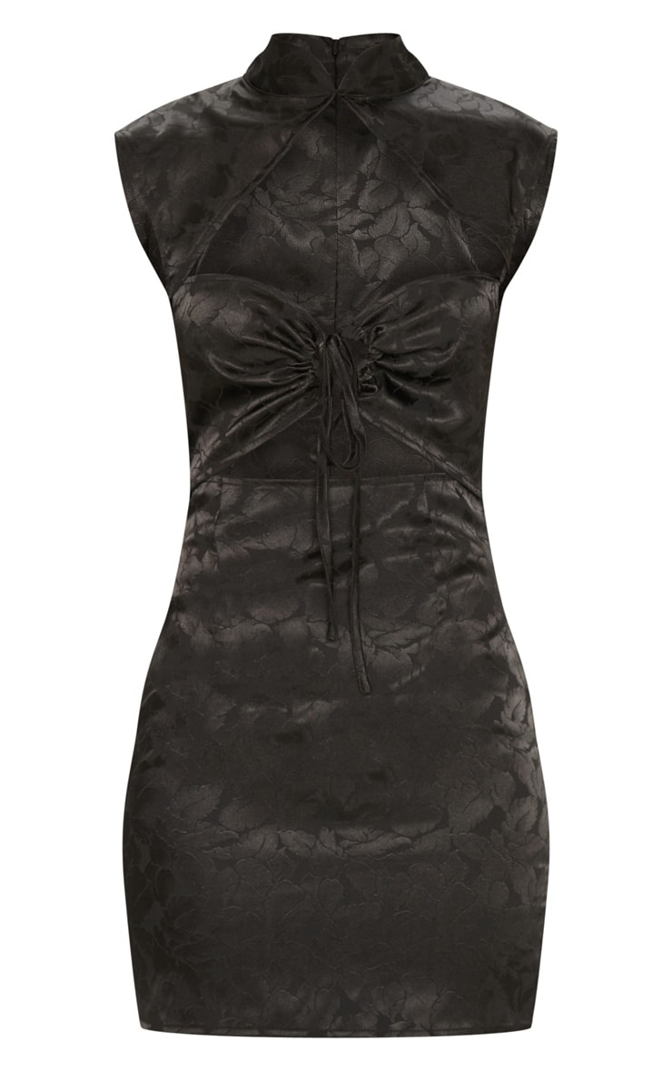 Black Floral Satin High Neck Cut Out Front Shift Dress 3