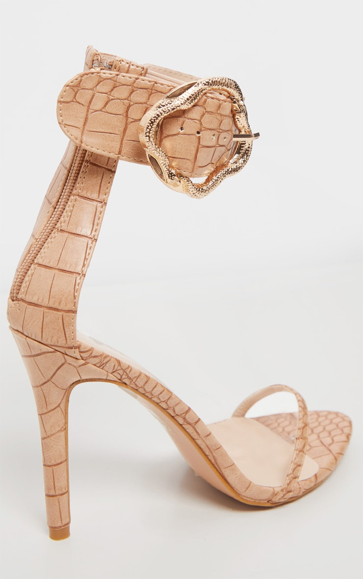 Nude Snake Buckle Strappy Sandal 5