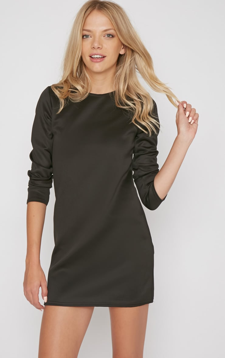 Zelda Black Long Sleeved Scuba Dress 5