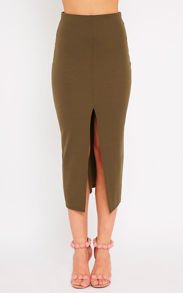 Kaja Khaki Scuba Split Skirt 3