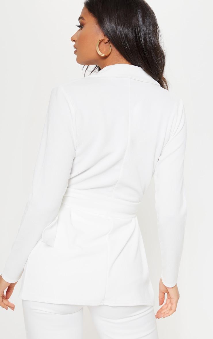 Cream Belted Blazer 2